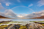 Isle of Lewis and Harris, Scotland: A rainbow spans the large sand bay of Luskentyre beach on South Harris Island