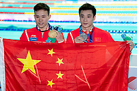 XIE Siyi  and CAO Yuan CHN gold  and silver medal<br /> Men's 3m Springboard <br /> Gwangju South Korea 18/07/2019<br /> Diving <br /> 18th FINA World Aquatics Championships<br /> Nambu University Aquatics Center <br /> Photo © Andrea Staccioli / Deepbluemedia / Insidefoto
