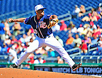 4 July 2010: Washington Nationals pitcher Miguel Batista on the mound against the New York Mets at Nationals Park in Washington, DC. The Mets defeated the Nationals 9-5, splitting their 4-game series. Mandatory Credit: Ed Wolfstein Photo