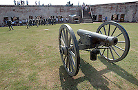 Fort Macon Cannon///A 1860's cannon, like those used at Fort Macon, sits on display. PHOTO BY CHUCK BECKLEY
