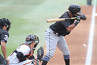 Bowie, MD - May 6, 2018: Akron RubberDucks shortstop Willi Castro (1) looks at a strike during the MiLB game between Akron and Bowie at  Baysox Stadium in Bowie, MD.  (Photo by Elliott Brown/Media Images International)