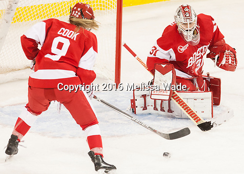 Abby Cook (BU - 9), Erin O'Neil (BU - 31) - The Boston College Eagles defeated the visiting Boston University Terriers 5-3 (EN) on Friday, November 4, 2016, at Kelley Rink in Conte Forum in Chestnut Hill, Massachusetts.The Boston College Eagles defeated the visiting Boston University Terriers 5-3 (EN) on Friday, November 4, 2016, at Kelley Rink in Conte Forum in Chestnut Hill, Massachusetts.