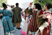 Louis XIV (right), played by Bryan Mercer, and other members of the French-language troupe Théâtre du Rêve entertain people during the pubic opening of Louvre Atlanta at the High Museum of Art. Over the next three years, the High Museum will feature hundreds of works of art from the Musée du Louvre in Paris.