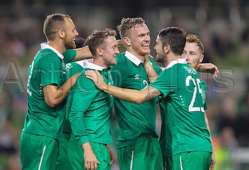 03.09.2014. Dublin, Ireland.  International friendly fixture Republic of Ireland versus Oman. Alex Pearce (Ireland) celebrates scoring his sides second goal.<br />  Ireland won the match by the score of 2-0