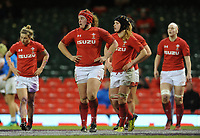 Wales Carys Philips and team mates look dejected after Italy score a try, <br /> <br /> Photographer Ian Cook/CameraSport<br /> <br /> 2018 Women's Six Nations Championships Round 4 - Wales Women v Italy Women - Sunday 11th March 2018 - Principality Stadium - Cardiff<br /> <br /> World Copyright &copy; 2018 CameraSport. All rights reserved. 43 Linden Ave. Countesthorpe. Leicester. England. LE8 5PG - Tel: +44 (0) 116 277 4147 - admin@camerasport.com - www.camerasport.com