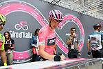 Race leader Rohan Dennis (AUS) BMC Racing Team signs on before the start of Stage 6 of the 2018 Giro d'Italia, running 169km from Caltanissetta to the Etna (Osservatorio Astrofisico) marks the first mountain finish of the race finishing on the Osservatorio Astrofisico climb for the first time in race's history, Sicily, Italy. 10th May 2018.<br /> Picture: LaPresse/Gian Mattia D'Alberto | Cyclefile<br /> <br /> <br /> All photos usage must carry mandatory copyright credit (&copy; Cyclefile | LaPresse/Gian Mattia D'Alberto)