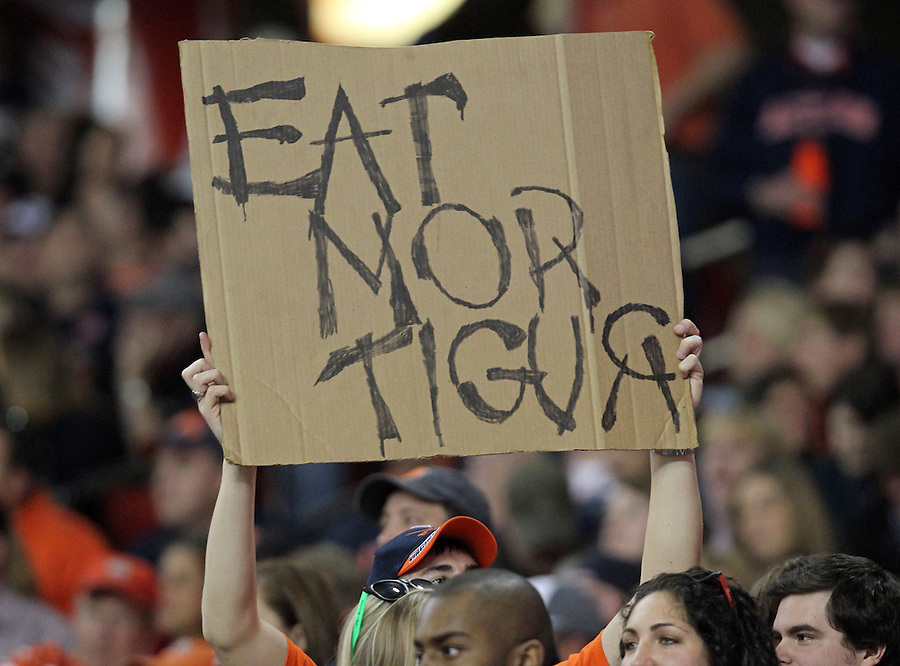 ATLANTA, GA - DECEMBER 31:  A Virginia Cavalier fan holds up a sign during the 2011 Chick Fil-A Bowl against the Auburn Tigers at the Georgia Dome on December 31, 2011 in Atlanta, Georgia. Auburn defeated Virginia 43-24. (Photo by Andrew Shurtleff/Getty Images) *** Local Caption ***