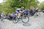 The breakaway group including Mathew Hayman (AUS) Orica-Scott and Gatis Smukulis Delko Marseille Provence KTM climb C&ocirc;te de Shibden during Stage 3 of the Tour de Yorkshire 2017 running 194.5km from Bradford/Fox Valley to Sheffield, England. 30th April 2017. <br /> Picture: ASO/P.Ballet | Cyclefile<br /> <br /> <br /> All photos usage must carry mandatory copyright credit (&copy; Cyclefile | ASO/P.Ballet)