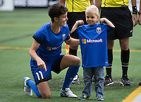 Seattle, WA - Saturday Aug. 27, 2016: Keelin Winters prior to a regular season National Women's Soccer League (NWSL) match between the Seattle Reign FC and the Portland Thorns FC at Memorial Stadium.