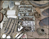 BNPS.co.uk (01202)558833Pic: H&amp;H/BNPS<br /> <br /> Poignant puzzle - nearly all the original parts survive.<br /> <br /> A vintage motorbike that has a tragic past and is in a jumble of parts has sold for a world record price of &pound;425,000.<br /> <br /> The 1930 Brough SS100 was ridden in a fateful race by the British biker FP 'Gentleman' Dickson alongside teammate George Brough, the engineer behind the famous machine. <br /> <br /> Dickson died after crashing the bike at a race in Switzerland in August 1930.<br /> <br /> The SS100 was later owned by motorbike enthusiast for almost 50 years. He had intended to restore the machine but died before he could complete project.
