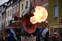 Fire breathing float in Carnival parade, Auerbach in der Oberpfalz, Bavaria, Germany