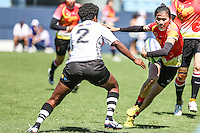 BARUERI, SP, 07.02.2015 - CIRCUITO MUNDIAL DE RUGBY SEVENS - CIRCUITO MUNDIAL DE RUGBY SEVENS - FIJI - CHINA - Lance de partida entre Fiji e China jogo valido pelo Circuito Mundial Feminino de Rugby Sevens na Arena Barueri em Barueri na grande São Paulo, neste sábado, 07. (Foto: William Volcov / Brazil Photo Press).