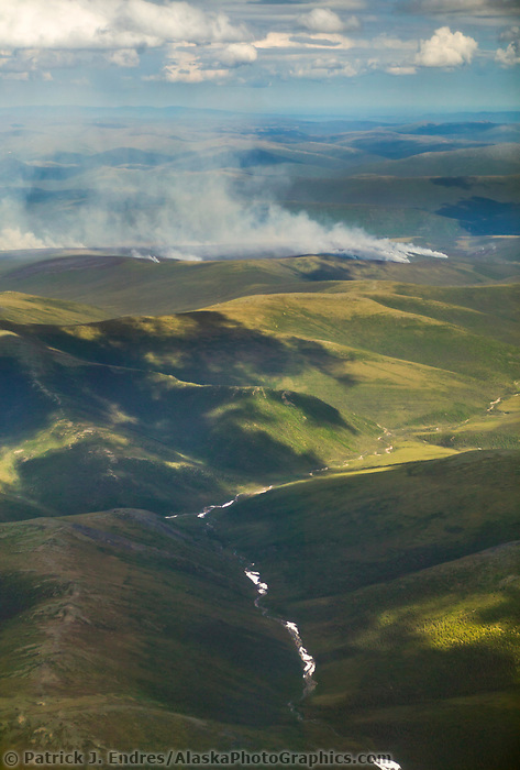 Forest fire near Birch creek, which drains into the Yukon River in Alaska's interior.