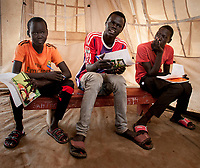Students attend emergency schools in the UN Protection of Civilians camp for internally displaced people in Juba, South Sudan. More than 24,000 people live in the POC on the United Nations compound.