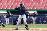 Cedar Rapids Kernels catcher David Banuelos (15) during a Midwest League game against the Kane County Cougars at Northwestern Medicine Field on April 28, 2019 in Geneva, Illinois. Cedar Rapids defeated Kane County 3-2 in game two of a doubleheader. (Zachary Lucy/Four Seam Images)
