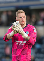 Goalkeeper Ryan Allsop of Wycombe Wanderers applauds the support on the final whistle during the Sky Bet League 2 match between Wycombe Wanderers and Stevenage at Adams Park, High Wycombe, England on 12 March 2016. Photo by Andy Rowland/PRiME Media Images.
