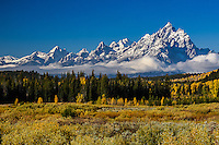 Signaling the coming winter, a fresh layer of snow coats the Teton Range while the colors of autumn still rage in the valley below.