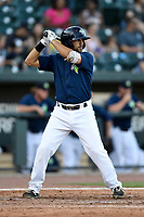 Third baseman J.J. Franco (2) of the Columbia Fireflies bats in a game against the Augusta GreenJackets on Sunday, July 30, 2017, at Spirit Communications Park in Columbia, South Carolina. Augusta won, 6-0. (Tom Priddy/Four Seam Images)