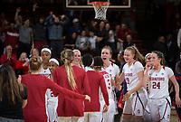 STANFORD, CA - February 22, 2019: Maya Dodson, Kiana Williams, Lexie Hull, Alanna Smith, Alyssa Jerome, Lacie Hull at Maples Pavilion. The Stanford Cardinal defeated the Arizona Wildcats 56-54.