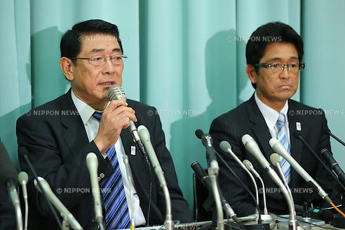 (L-R) Noriyuki Ichihara, Tsuyoshi Fukui, FEBRUARY 8, 2013 - Judo : press conference at Kishi memorial gymnasium, Tokyo, Japan. (Photo by AFLO SPORT) [1156]