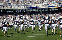10 September 2005:  Penn State team runs onto the field before the game..Penn State defeated Cincinnati 42-24 September 10, 2005 at Beaver Stadium in State College, PA..