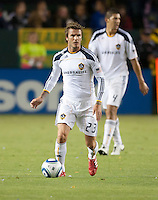 Galaxy midfielder David Beckham (23) looks to pass the ball during the second half of the game between LA Galaxy and the Columbus Crew at the Home Depot Center in Carson, CA, on September 11, 2010. LA Galaxy 3, Columbus Crew 1.