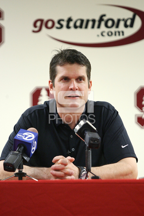 2 April 2007: Jim Harbaugh addresses the media during a press conference for spring practice at Maples Pavilion in Stanford, CA.