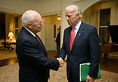 Washington, DC - November 13, 2008 -- United States Vice President Dick Cheney bids farewell to Vice President-elect Joe Biden Thursday, November 13, 2008, following their nearly hour-long visit at the Vice President?s Residence at the United States Naval Observatory in Washington, D.C. ..