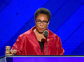 United States Representative Marcia Fudge (Democrat of Ohio) calls the third session of the 2016 Democratic National Convention at the Wells Fargo Center to order in Philadelphia, Pennsylvania on Wednesday, July 27, 2016.<br /> Credit: Ron Sachs / CNP<br /> (RESTRICTION: NO New York or New Jersey Newspapers or newspapers within a 75 mile radius of New York City)