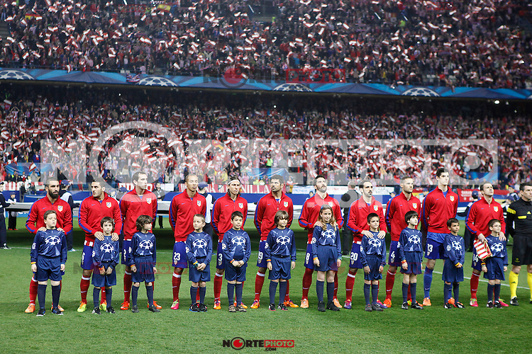 Atletico de Madrid´s  team players during 16th Champions League soccer match at Vicente Calderon stadium in Madrid, Spain. January 06, 2014. (ALTERPHOTOS/Victor Blanco)