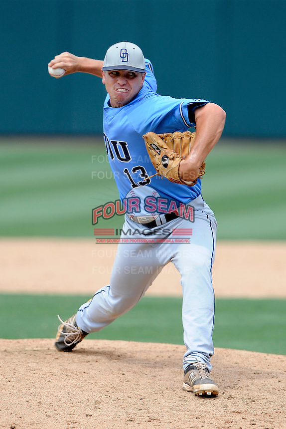 Relied pitcher Brad Gero (13) of the Old Dominion Monarchs in an NCAA Division I Baseball Regional Tournament game against the Maryland Terrapins on Friday, May 30, 2014, at Carolina Stadium in Columbia, South Carolina. Maryland won, 4-3. (Tom Priddy/Four Seam Images)