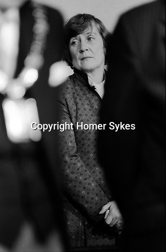 Shirley Williams waiting moments before the election results are announced at the Crosby by election Liverpool 1981. She was the first elected SDP member of Parliament UK.