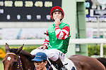 Jockey Umberto Rispoli riding #1 Chiu Chow Kid celebrates after winning Race 3 Kose Cosmeport Handicap during Hong Kong Racing at Sha Tin Racecourse on November 04, 2018 in Hong Kong, Hong Kong. Photo by Yu Chun Christopher Wong / Power Sport Images