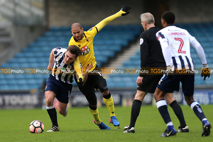 Adlene Guedioura of Watford and Ben Thompson of Millwall during Millwall vs Watford, Emirates FA Cup Football at The Den on 29th January 2017