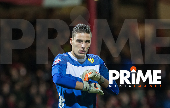 Goalkeeper Marco Silvestri of Leeds United  during the Sky Bet Championship match between Brentford and Leeds United at Griffin Park, London, England on 26 January 2016. Photo by Andy Rowland / PRiME Media Images.