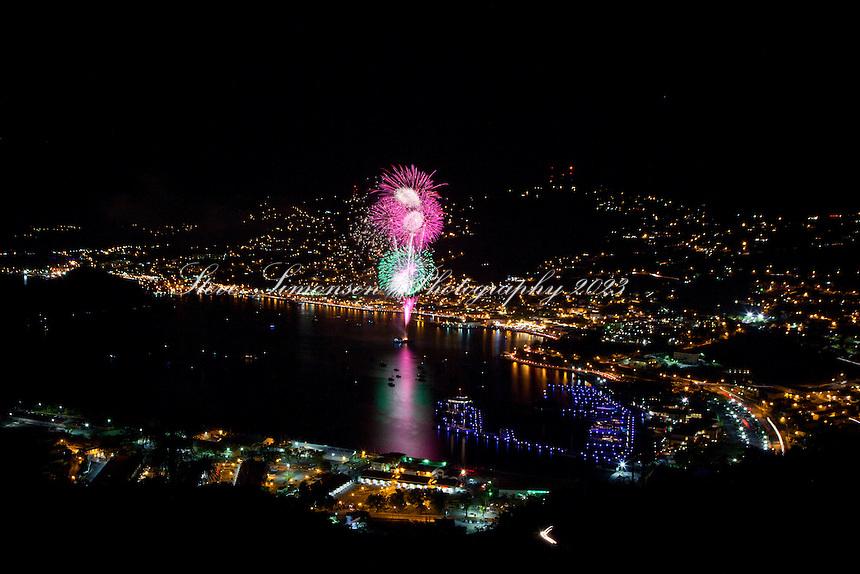 Fireworks over Charlotte Amalie<br /> Carnival Festivities<br /> St. Thomas<br /> U.S. Virgin Islands