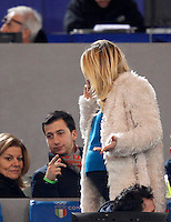 Calcio, Serie A:  Roma vs Palermo. Roma, stadio Olimpico, 21 febbraio 2016. <br /> Ilary Blasi, wife of Roma's Francesco Totti, arrives on the stand for the Italian Serie A football match between Roma and Palermo at Rome's Olympic stadium, 21 February 2016.<br /> UPDATE IMAGES PRESS/Riccardo De Luca