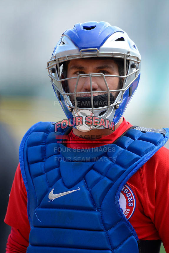 Buffalo Bisons catcher Josh Thole #20 during the second game of a doubleheader against the Pawtucket Red Sox on April 25, 2013 at Coca-Cola Field in Buffalo, New York.  Buffalo defeated Pawtucket 4-0.  (Mike Janes/Four Seam Images)