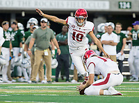 NWA Democrat-Gazette/BEN GOFF @NWABENGOFF<br /> Connor Limpert kicks a field goal for Arkansas with Jack Lindsey holding in the 2nd quarter vs Colorado State Saturday, Sept. 8, 2018, at Canvas Stadium in Fort Collins, Colo.