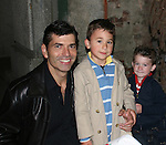 """Actor Joe Barbara (Captain Joe Carlino - Another World and Paolo Caselli - All My Children) poses with his sons Joseph and Nicholas after the musical which Joe stars in - the musical """"I Come For Love"""" as Scoop as a part of the New York Musical Theatre Festival at the Chernuchin Theatre, NYC, NY. (Photo by Sue Coflin/Max Photos)"""