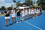 The Vanderbilt Commodores stand for the National Anthem prior to their match against the Stanford Cardinal during the finals of the 2018 NCAA Women's Tennis Championship at the Wake Forest Tennis Center on May 22, 2018 in Winston-Salem, North Carolina. The Cardinal defeated the Commodores 4-3. (Brian Westerholt/Sports On Film)