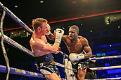 30th September 2017, Echo Arena, Liverpool, England; Matchroom Boxing, Eliminator for WBA Bantamweight World Championship; WBA International Super-Lightweight Championship tom farrell versus ohara davies; Ohara Davies land a right hook on Tom Farrell's chin