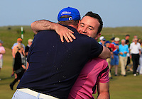 Paul O'Hanlon (Carton House) being congratulated by a friend after winning the East of Ireland Amateur Open Championship sponsored by City North Hotel at Co. Louth Golf club in Baltray on Monday 6th June 2016.<br /> Photo by: Golffile   Thos Caffrey