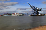 Cosco shipping line container ship arriving at Port of Felixstowe, Suffolk, England, UK