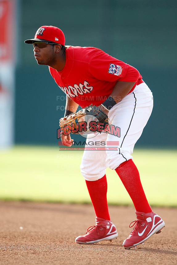 June 19, 2009:  First Baseman Xavier Scruggs of the Batavia Muckdogs in the field during a game at Dwyer Stadium in Batavia, NY.  The Muckdogs are the NY-Penn League Short-Season Class-A affiliate of the St. Louis Cardinals.  Photo by:  Mike Janes/Four Seam Images