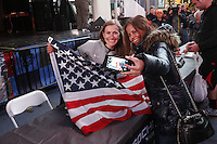 NEW YORK - OCT 29: Team USA fan Carol Escobar, right--who said she is going to Sochi--came from Washington, DC, to attend the event and get her picture taken with Freestyle Skiier Heather McPhie, left. Olympic athletes participate in 100 Days to Sochi, a promotional event for the US Olympic Team, on Tuesday, October 29, 2013 in New York City. (Photo by Landon Nordeman)