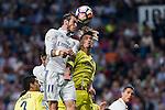 Real Madrid's Garet Bale and Villarreal's Samu Castillejo during the match of La Liga between Real Madrid  and Villarreal Club de Futbol at Santiago Bernabeu Estadium in Madrid. September 21, 2016. (ALTERPHOTOS/Rodrigo Jimenez)
