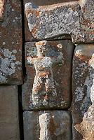 Close up of Hittite relief scultures of Hittite godsEflatun Pınar ( Eflatunpınar) Ancient Hittite relief sculpture monument and sacred pool.  Between 15th to 13th centuries BC. Lake Beysehir National Park, Konya, Turkey.