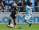 Shanice Van De Sanden of Lyon and Demi Stokes of Manchester City during the Women's Champions League, Semi Final 1st leg match at the Academy Stadium, Manchester. Picture date 22nd April 2018. Picture credit should read: Simon Bellis/Sportimage
