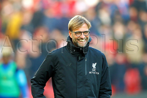 26.11.2016. Anfield, Liverpool, England. Premier League Football. Liverpool versus Sunderland. Liverpool Manager Jurgen Klopp smiling before the match